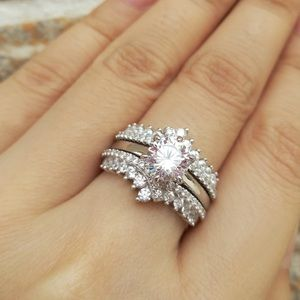 💖2pcs 925 silver Engagement ring Wedding band set